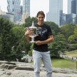 US Open 2013 champion Rafael Nadal posing with  US Open trophy in Central Park — Stock Photo