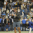 US Open 2013 champion Rafael Nadal holding US Open trophy during trophy presentation — 图库照片