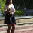US Open 2013 champion Serena Williams posing with US Open trophy in Central Park — Stockfoto