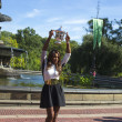 Foto Stock: US Open 2013 champion SerenWilliams posing with US Open trophy in Central Park