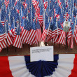 Stock Photo: 343 AmericFlags in memory of FDNY firefighters who lost their life on September 11, 2001