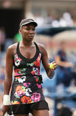 Nine times Grand Slam champion Venus Williams during her first round doubles match at US Open 2013 — Stock Photo