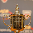 Stockfoto: US Open Men singles trophy at press conference after Rafael Nadal won US Open 2013