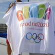 Stock Photo: Thirteen times Grand Slam champion Rafael Nadal holding Madrid 2020 Summer Olympic flag