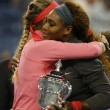 Stock Photo: Finalist VictoriAzarenkcongratulates winner SerenWilliams after she lost final match at US Open 2013