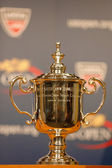 US Open Men singles trophy at the press conference after Rafael Nadal won US Open 2013 — Stock Photo
