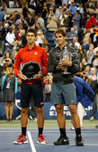 US Open 2013 champion Rafael Nadal and finalist Novak Djokovic during trophy presentation after final match — Stock Photo