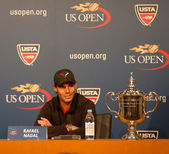 Thirteen times Grand Slam champion Rafael Nadal during press conference after he won US Open 2013 — Stock Photo