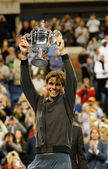 US Open 2013 champion Rafael Nadal holding US Open trophy during trophy presentation after his final match win against Novak Djokovic — Stock Photo