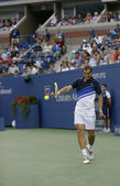 Professional tennis player Richard Gasquet during his semifinal match at US Open 2013 against twelve times Grand Slam champion Rafael Nadal — Stock Photo