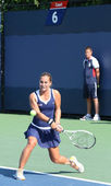Professional tennis player Dominika Cibulkova from Slovakia during her first round match at US Open 2013 — Stock Photo