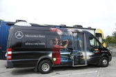 Mercedes- Benz bus at National Tennis Center during US Open 2013 — Stock Photo