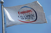 Emirates Airline US Open Series flag at Billie Jean King National Tennis Center during US Open 2013 — Stock Photo