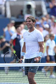 Twelve times Grand Slam champion Rafael Nadal celebrates victory in his third round match at US Open 2013 against Ivan Dodig — Stock Photo