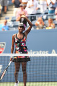 Nine times Grand Slam champion Venus Williams celebrates victory at her first round match at US Open 2013 — Stock Photo