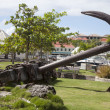 Stock Photo: Giant anchor at Gustaviwaterfront at St Barts, French West Indies
