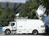 CNN truck in the front of National Tennis Center — Stock Photo