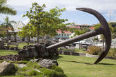 Giant anchor at Gustavia waterfront at St Barts, French West Indies — Stock Photo