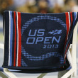 US Open 2013 official towel on player chair at the Arthur Ashe Stadium — Stok fotoğraf