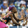 Nine times Grand Slam champion Venus Williams during her first round doubles match with teammate Serena Williams at US Open 2013 — Stock Photo