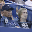 Former Mayor of New York City David Dinkins attends match at US Open 2013 between Roger Federer and Adrian Mannarino — Stock Photo
