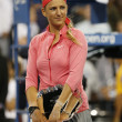 Two times Grand Slam champion and US Open 2013 finalist VictoriAzarenkduring trophy presentation — Stock Photo #32164257