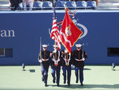 The Color Guard of the U.S. Marine Corps during the opening ceremony of the US Open 2013 women final match — Stock Photo