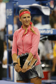 Two times Grand Slam champion and US Open 2013 finalist Victoria Azarenka during trophy presentation — Stock Photo