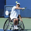Tennis player David Wagner from USduring his US Open 2013 wheelchair quad singles match at Billie JeKing National Tennis Center — Stock Photo #32283563
