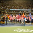 Постер, плакат: Trophy presentation at Billie Jean King National Tennis Center after US Open 2013 champion Rafael Nadal won final against Novak Djokovic