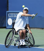 Tennis player David Wagner from USA during his US Open 2013 wheelchair quad singles match at Billie Jean King National Tennis Center — Stock Photo