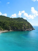 Aerial view at Shell beach, St. Barts, French West Indies — Stock Photo