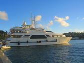 Mega yacht in Gustavia Harbor at St Barths, French West Indies. — Stock Photo