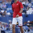 Professional tennis player Novak Djokovic during fourth round match at US Open 2013 against Marcel Granollers — Stock Photo #32376317