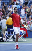 Professional tennis player Novak Djokovic celebrating victory after fourth round match at US Open 2013 against Marcel Granollers — Stock Photo