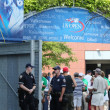 Stock Photo: NYPD police officers ready to protect public at Billie JeKing National Tennis Center during US Open 2013