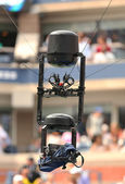 Spidercam aerial camera system used for broadcast from Arthur Ashe Stadium at the Billie Jean King National Tennis Center during US Open 2013 — Stock Photo