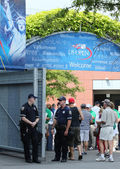 NYPD police officers ready to protect public at Billie Jean King National Tennis Center during US Open 2013 — Stock Photo