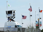 NYPD Sky Watch platform placed near National Tennis Center during US Open 2013 — Zdjęcie stockowe