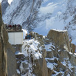 Mont-Blanc terrace at the mountain top station of the Aiguille du Midi in French Apls — Stock Photo
