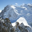 Stock Photo: Mont-Blanc terrace overlooking Mont Blanc mountain at mountain top station of Aiguille du Midi