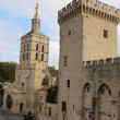 The Notre Dame des Doms cathedral and Palais Des Papes in Avignon, France — Stock Photo