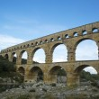 The Pont du Gard, ancient Roman aqueduct bridge build in the 1st century AD — Foto de Stock