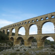 The Pont du Gard, ancient Roman aqueduct bridge build in the 1st century AD — Stockfoto
