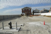 Destroyed beach property in devastated area one year after Hurricane Sandy — Stock Photo