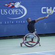 Tennis player Lucas Sithole from South Africa during US Open 2013 wheelchair quad singles match — Stock Photo