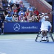 Tennis player David Wagner from USA during his US Open 2013 wheelchair quad singles match — Stock Photo