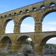 The Pont du Gard, ancient Roman aqueduct bridge build in the 1st century AD in southern France — Stock Photo #34287787