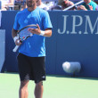Professional tennis player Fabio Fognini from Italy practices for US Open 2013 — ストック写真