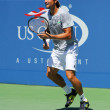 Stock Photo: Professional tennis player David Ferrer from Spain practices for US Open 2013